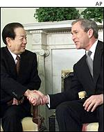Vice-Premier Qian Qichen and President Bush in Washington