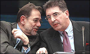 The EU's foreign and security chief, Javier Solana, and Macedonian Foreign Minister Srdjan Kerim