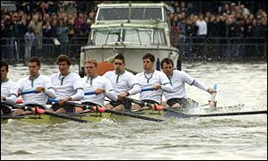 Cambridge's Colin Swainson (right) loses his oar