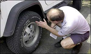 Inspection of Firestone tyre on Ford Explorer