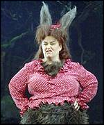 Actress Dawn French as Bottom in Shakespeare's A Midsummer Night's Dream