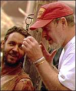 Ridley Scott directs Russell Crowe in Gladiator