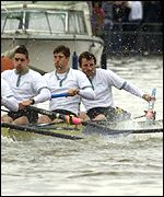 Colin Swainson (right) loses his oar