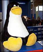 Linux's mascot penguin at CeBIT BBC