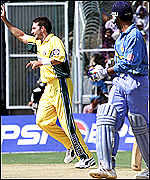 Damien Fleming celebrates the early victory of Saurav Ganguly