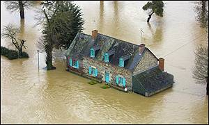 A flooded house near Guipry, Brittany