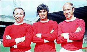 George Best with Man Utd and England legends Bobby Charlton (right) and Nobby Stiles