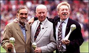 George Best, Bobby Charlton and Denis Law picked up their awards at Old Trafford