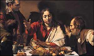 Caravaggio's The Supper at Emmaus (Detail, The National Gallery)