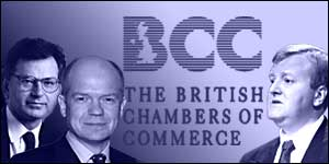 Speakers at the BCC conference include (from left) Stephen Byers, William Hague and Charles Kennedy