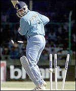 Sourav Ganguly is bowled for four