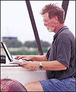 Man will lap top and phone on boat Iridium