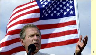 George W Bush and US flag
