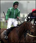 Ruby Walsh celebrates victory on Papillon