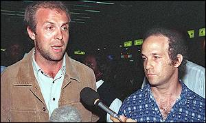 Jonathan Veitch (L) and Sheldon Yett, both aid workers with the United