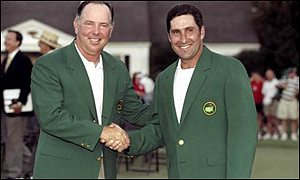 Jose Maria Olazabal shakes hands with Mark O'Meara