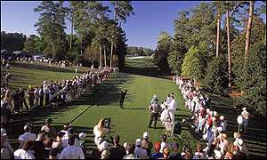 A view of the 18th hole at Augusta