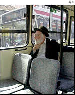 Jewish man on a practically empty bus