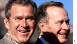 US President George W Bush and former US President George Bush.