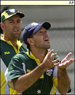 Darren Lehmann and Ricky Ponting training at Indore