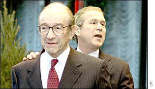Alan Greenspan and George W Bush