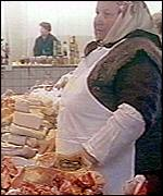 Russian meat seller