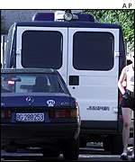 The Serbian police van allegedly carrying Slobodan Milosevic