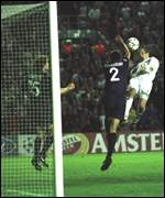 Lee Bowyer's header cannoned off the bar