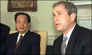Chinese Vice-Premier Qian Qicheng and President George Bush (March 2001)