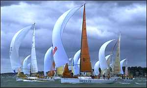 The fleet cross the line at the start of the eighth and final Admiral's Cup race from Cowes in 1999