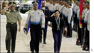 President Arroyo (left) at a military parade