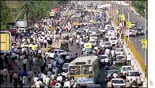 Traffic chaos in Delhi