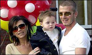 Victoria, Brooklyn and David Beckham