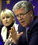 EU Environment Commissioner Margot Wallstroem and Swedish Environment Minister Kjell Larsson (right)