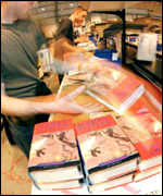 Amazon packing copies of Harry Potter books for sale