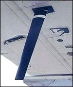 Chinese news agency photo showing damage to EP-3 plane