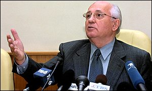 Mikhail Gorbachev at news conference