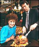 Angie (Anita Dobson) and Den (Leslie Grantham) in EastEnders