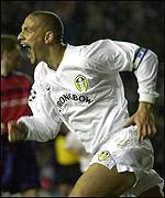 Rio Ferdinand celebrates his first goal for the club