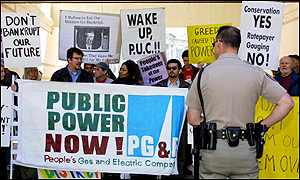 Protestors demonstrate over planned electricity prices rises in California
