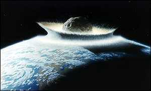 A computer image of an asteroid striking the Earth