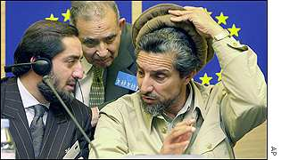 Ahmed Shah Masood (right) at European Parliament