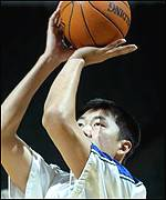 Wang scored three baskets in his eight-minute spell