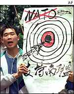 Protestors demonstrating against the Nato attack on China's Belgrade embassy in 1999