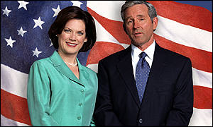 Carrie Quinn Dolin and Timothy Bottoms as Laura and George Bush