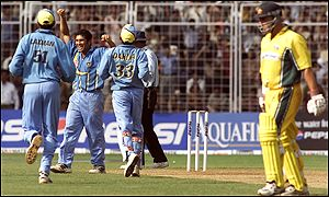 Sachin Tendulkar had a poor day with the bat scoring 12 runs but managed three Australian wickets