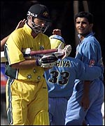 Sourav ganguly sends Steve Waugh on his way