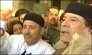 Khalifa Fhimah with Colonel Gaddafi on his return to Tripoli