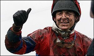 Thumbs up for the winning jockey Richard Guest