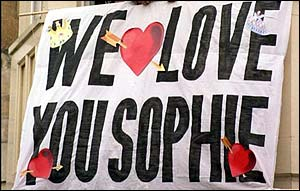 We Love You Sophie banner from royal wedding